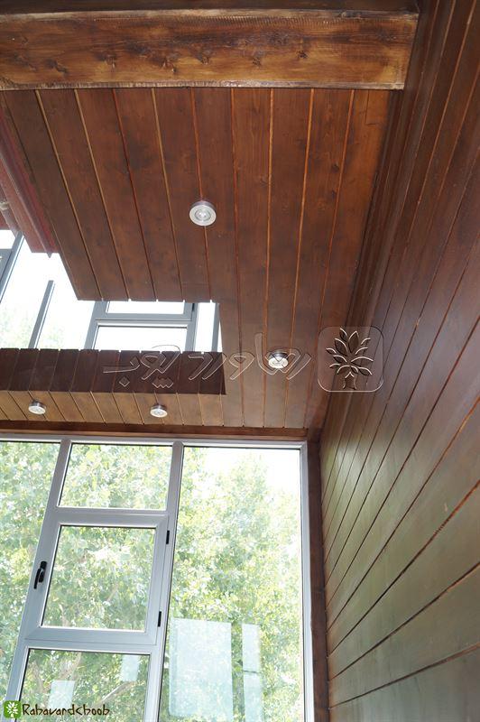 چوب ترموود قهوه ای در سقف و دیوار