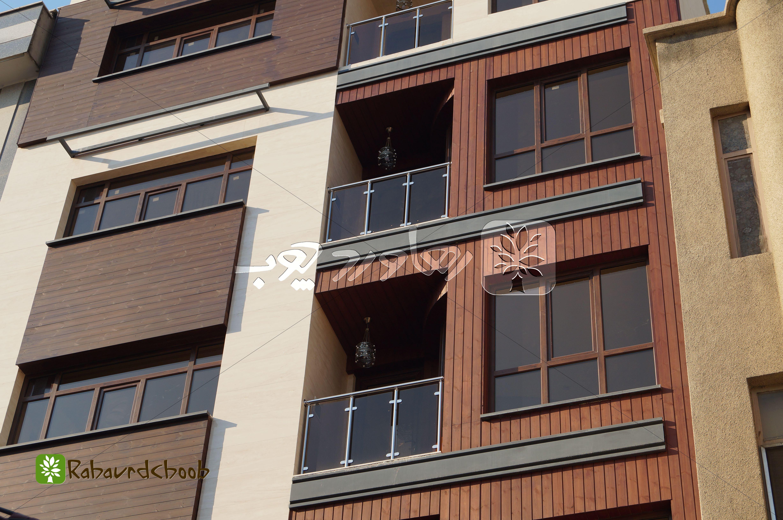 اجرای نمای چوبی ساختمان مسکونی در گیشا