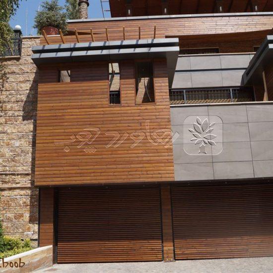 نمای چوبی ساختمان مسکونی پروژه فشم