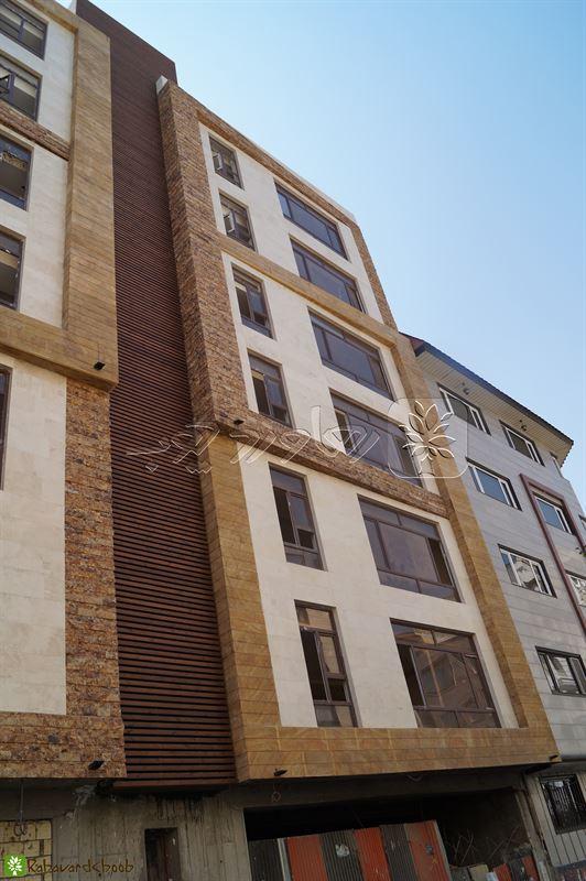 طراحی نما ساختمان چوب ترمو و سنگ