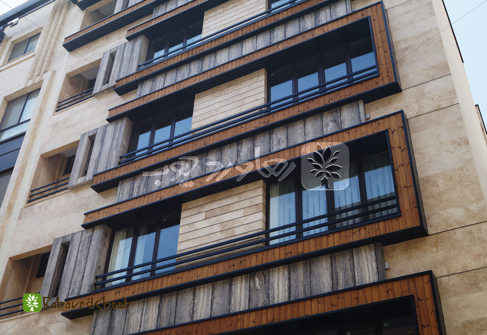 نمای چوبی آپارتمان مسکونی در قیطریه