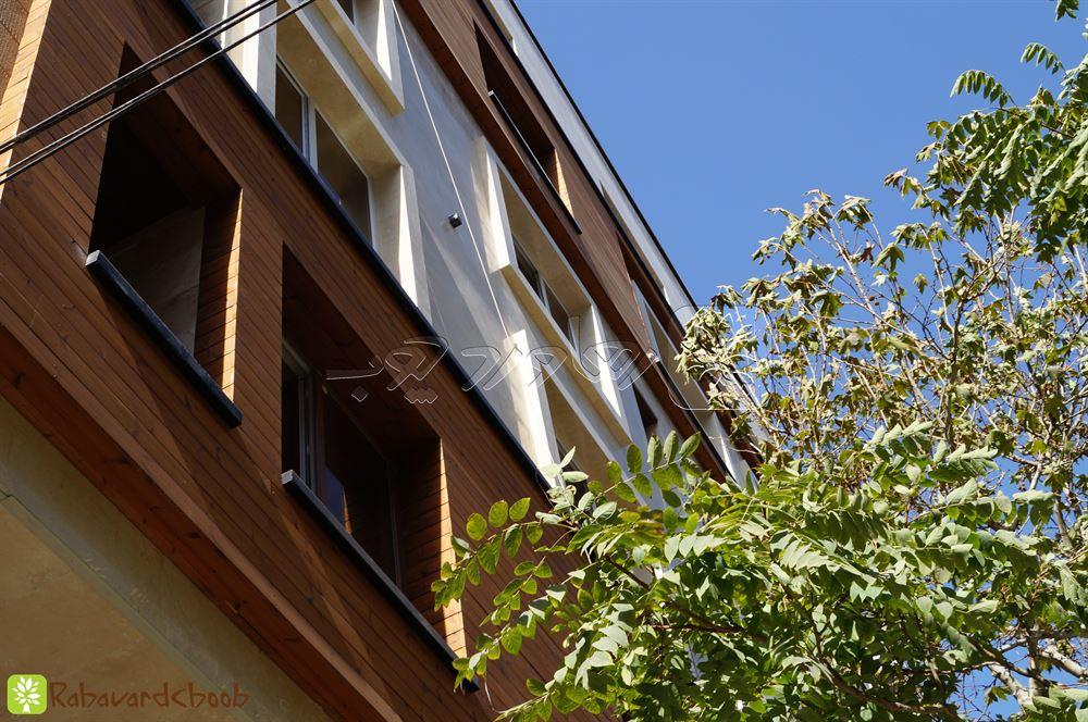 استفاده از چوب ترمو در نمای خارجی ساختمان در ظفر